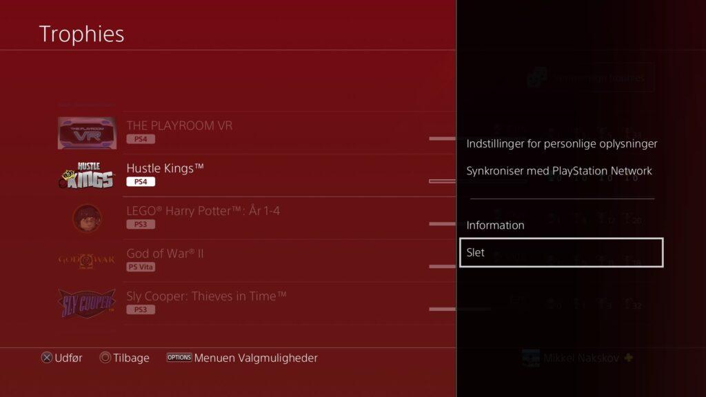 Trofæliste på PS4 med mulighed for at slette