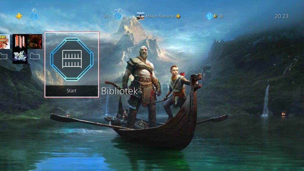 Bibliotek i PS4 menuen