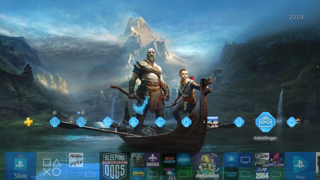 Playstation 4 menu står på indstillinger
