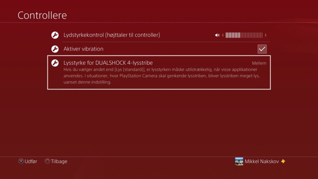 Lysstyrke indstillinger på playstation 4