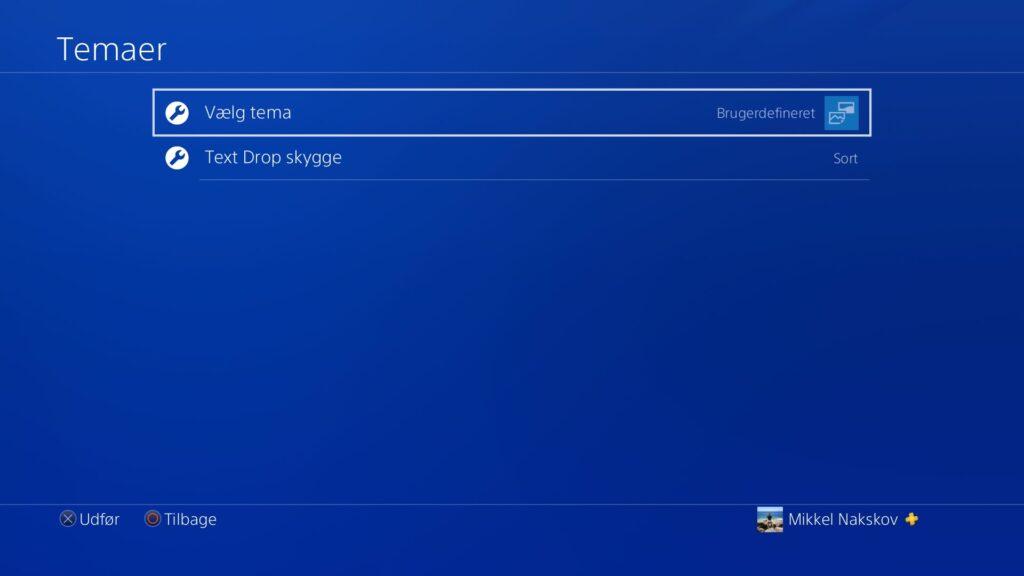 Vælg tema via temainstillinger på PS4 system