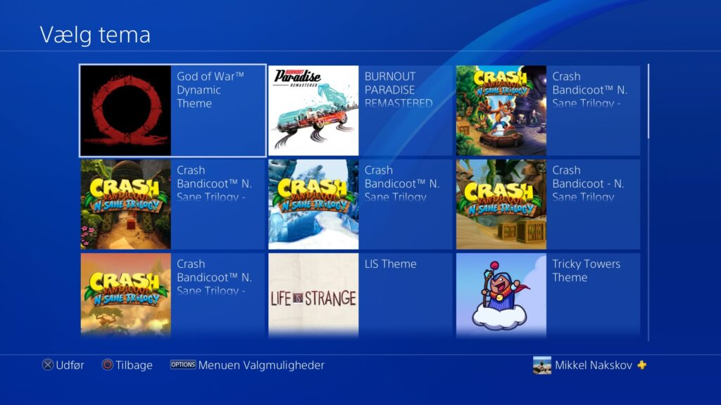 Tema overblik på PS4