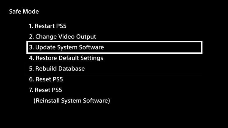 Safe mode på PS5