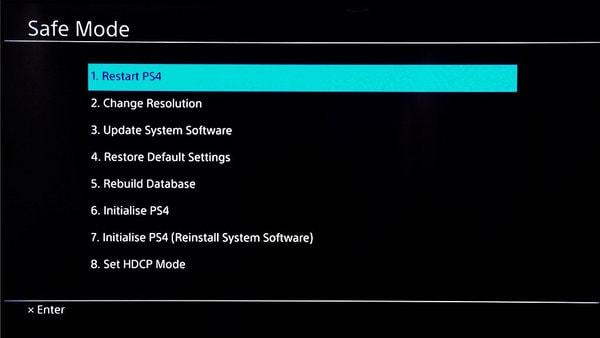 safe mode på Playstation 4
